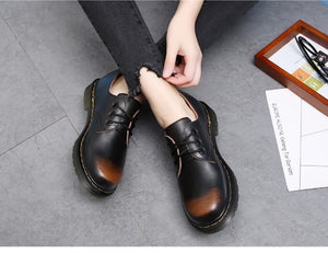 Oxford Shoes For Women Shoes Woman Cow Leather Martin Ankle Female Casual Shoes Flats 2018 Spring Autumn Lace-Up Zapatos Mujer