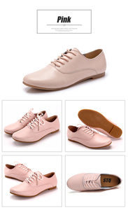 STQ 2018 Spring women oxford shoes ballerina flats shoes women genuine leather shoes moccasins lace up loafers white shoes 051
