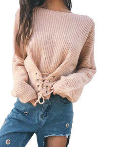 Sage Front Lace Up Knit
