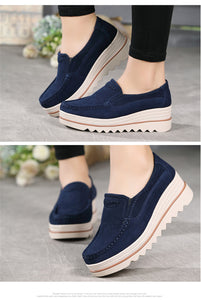 STQ 2018 Autumn women flats shoes platform sneakers shoes leather suede casual shoes slip on flats heels creepers moccasins 3088