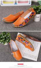 STQ 2018 Autumn women flats genuine leather shoes slip on ballet flats women flats print woman shoes moccasins loafers shoes 170