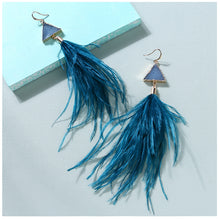 Crystal Gold Ostrich Feather Earrings