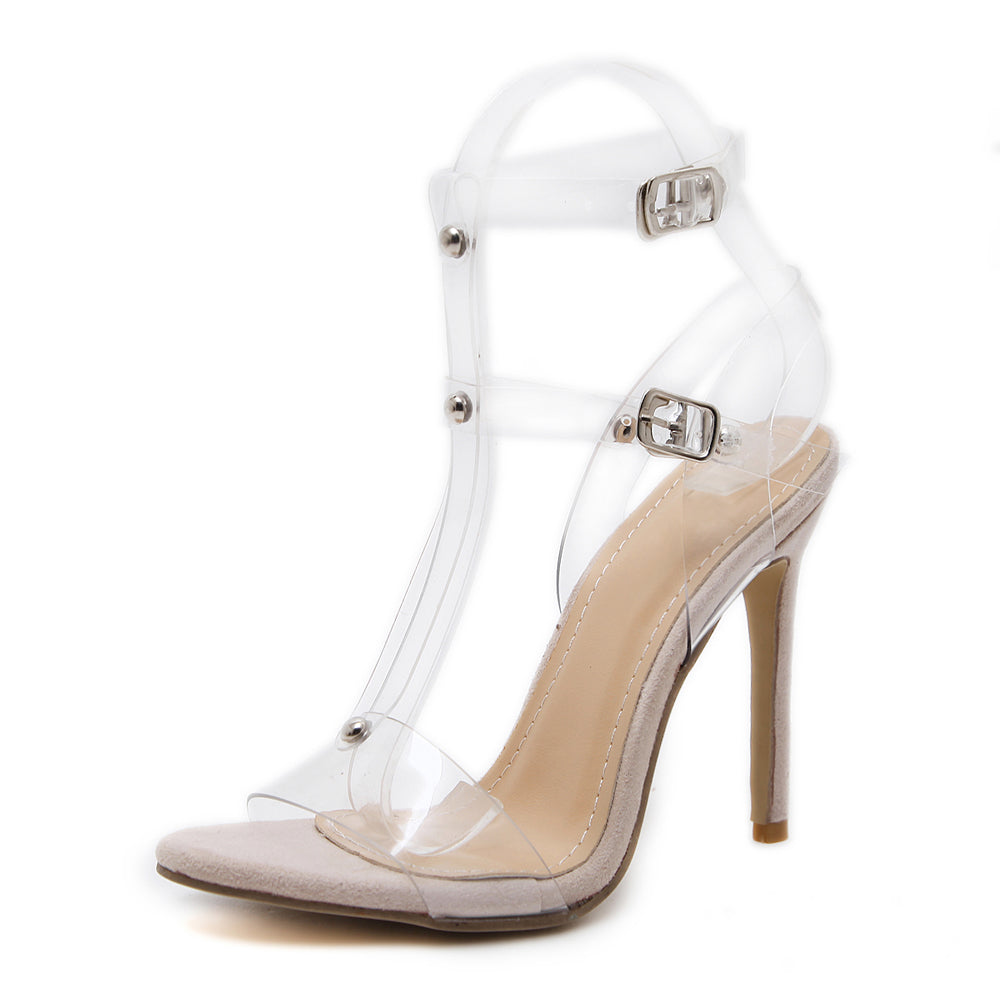 Evelyn Transparent Ankle Strap Heel