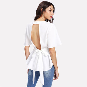 White Backless Plain Blouse