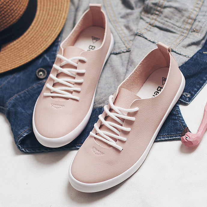 2018 New Women Pink Sneakers Female White Shoes Lace Up Flat Heel All Match Must Have Lady Flats Spring Leather Shoes Beige