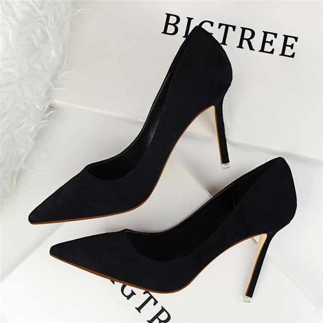 2018 New Arrival Korean Concise Pointed Toe Office Shoes Women's Fashion Solid Flock Shallow High Heels Shoes for Women 9 Colors