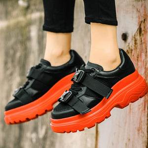 RASMEUP Genuine Leather Mesh Women's Platform Chunky Sneakers 2018 Fashion Buckle Women Flat Thick Sole Shoes Woman Dad Footwear