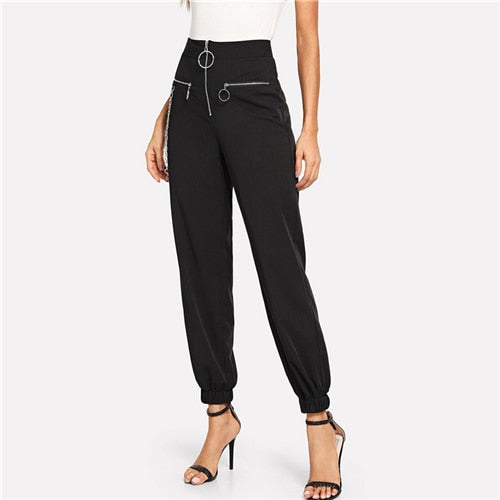 Black O-Ring Zip Up Chain Detail Pants