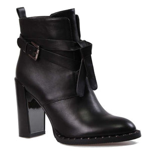 Buckle Strap Rivet Ankle Boots