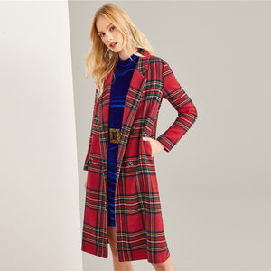 Double Breasted Plaid Trench Coat