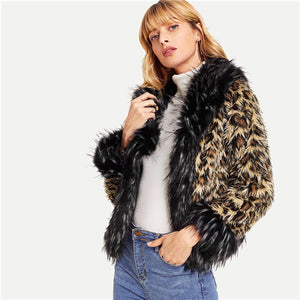 Faux Fur Leopard Print Long Sleeve Casual Coat