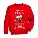 Santa Paws Pug Ugly Christmas Sweater Youth Kids Sweatshirt