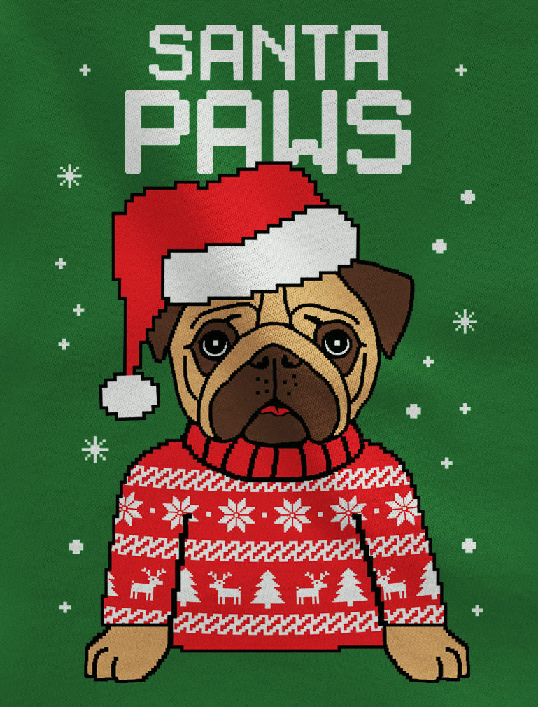 Santa Paws Pug Ugly Christmas Sweater Youth Kids Long Sleeve T-Shirt