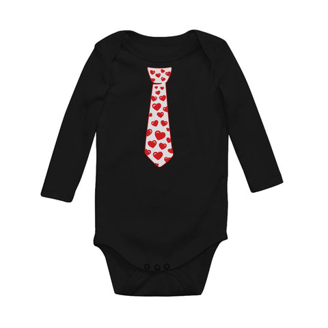 Tstars tshirts Red Hearts Tie - Valentine's Day Baby Long Sleeve Bodysuit