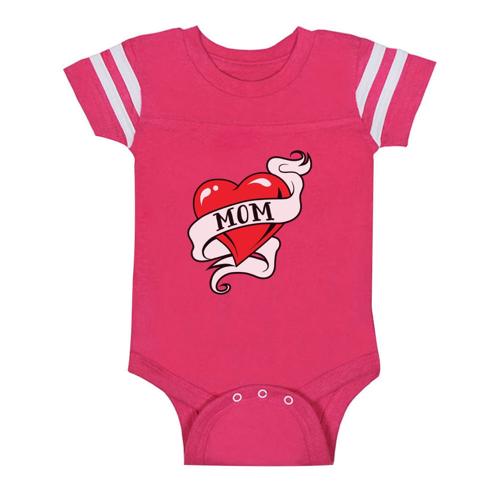 Mom Heart Tattoo Baby Jersey Bodysuit