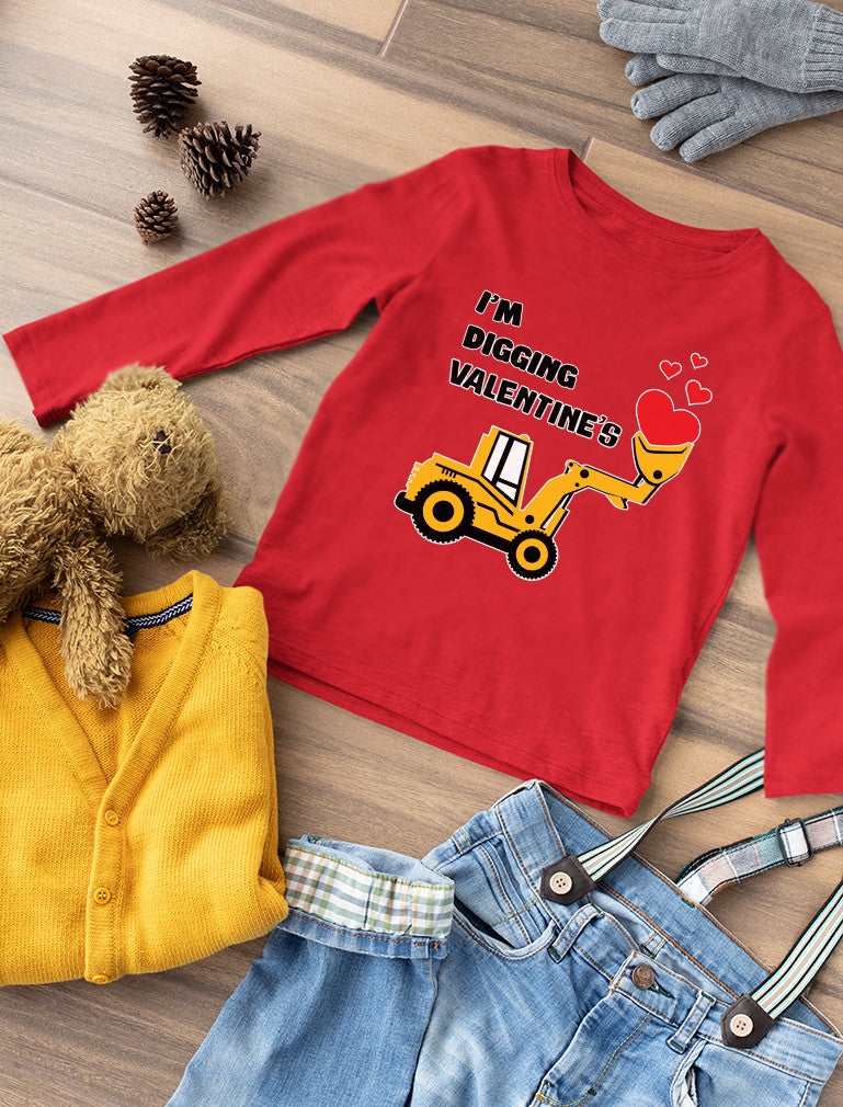 I'm Digging Valentine's Day Cute Tractor Toddler Kids Long sleeve T-Shirt