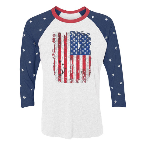 Tstars tshirts USA Distressed Flag 4th July | American Patriot 3/4 Women Sleeve Baseball Jersey Shirt