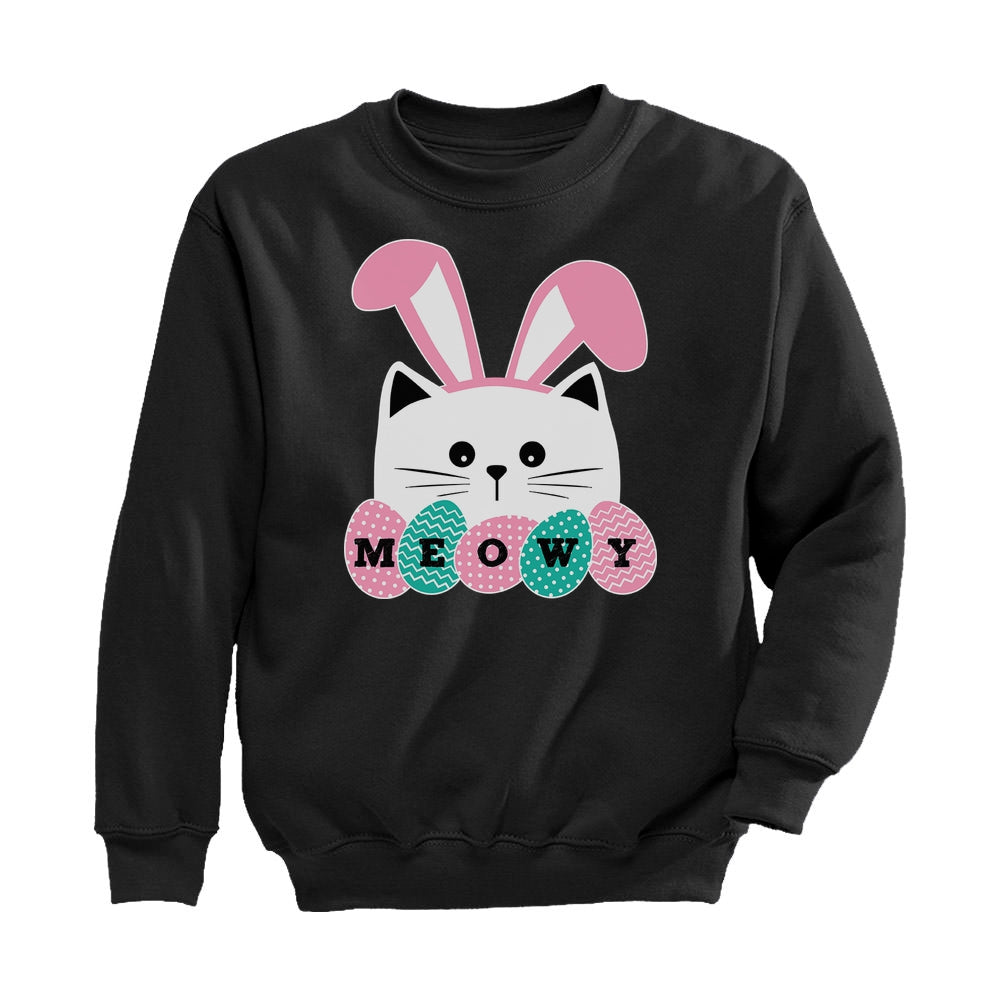 Meowy Easter Cat With Bunny Ears Toddler Kids Sweatshirt - Black
