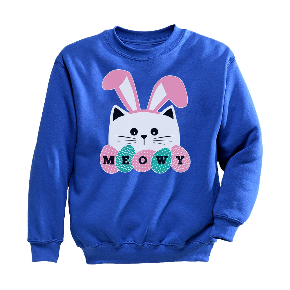 Meowy Easter Cat With Bunny Ears Toddler Kids Sweatshirt - Blue