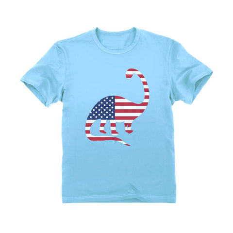 Tstars tshirts USA Dinosaur American Flag 4th of July Toddler Kids T-Shirt
