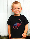 USA Dinosaur American Flag 4th of July Toddler Kids T-Shirt