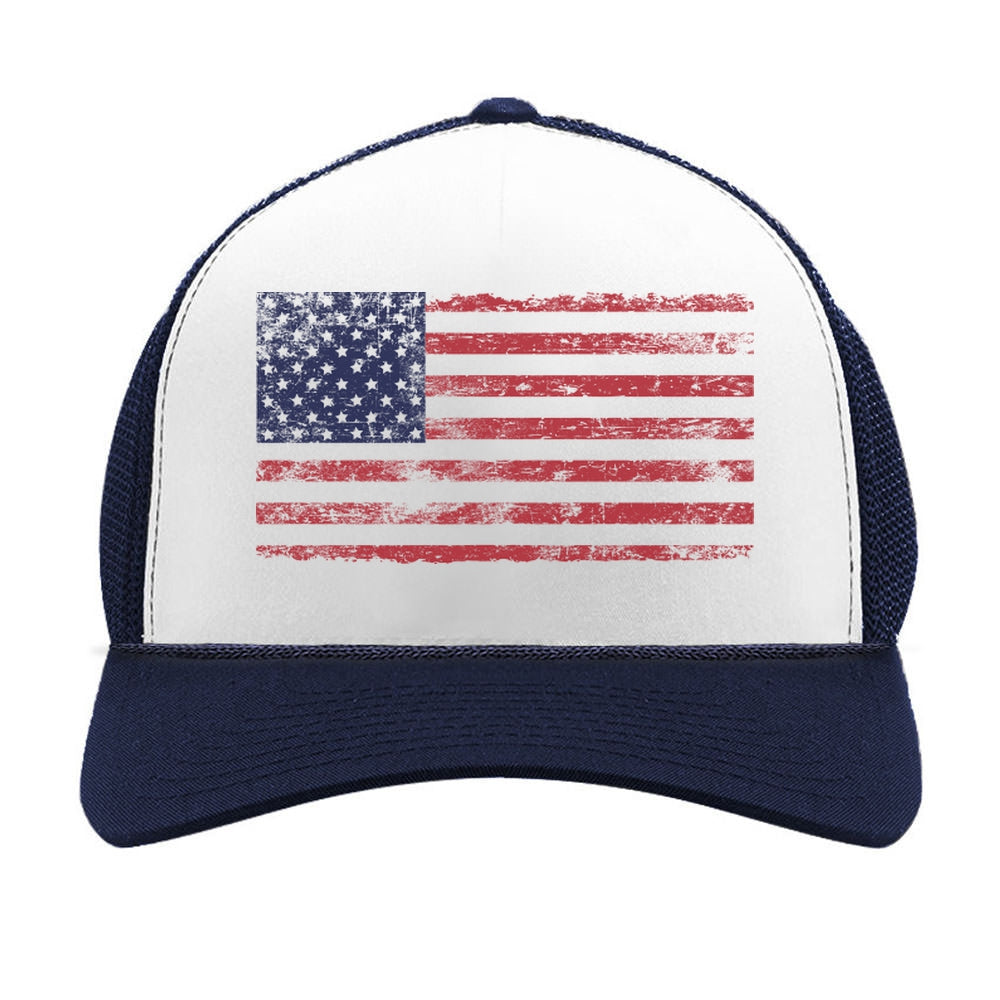 4th of July Vintage Distressed USA Flag Cap Trucker Hat Mesh Cap