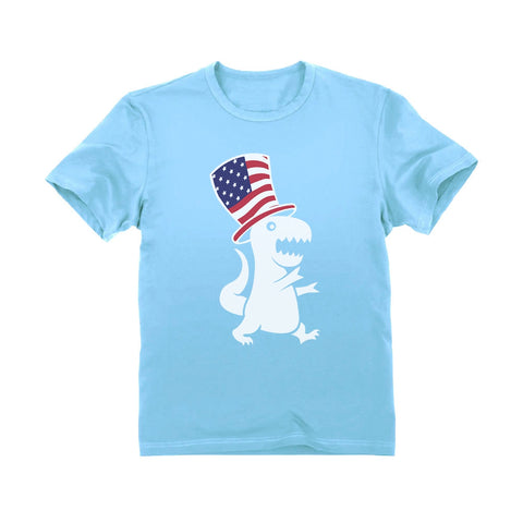 Tstars tshirts American T-Rex Dinosaur USA Flag 4th of July Toddler Kids T-Shirt