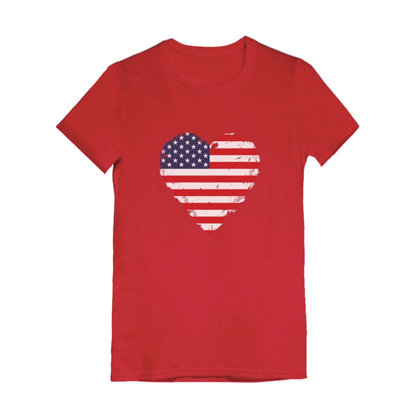 Tstars tshirts American Heart Flag Love USA Toddler Kids Girls' Fitted T-Shirt