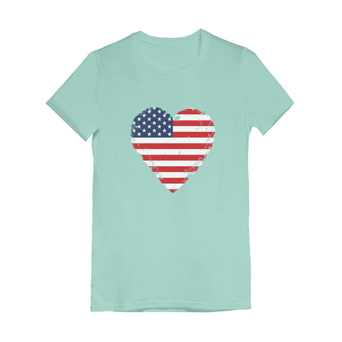 Tstars tshirts American Heart Flag Love USA Infant Girls' Fitted T-Shirt