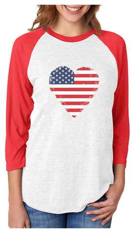 Tstars tshirts American Heart Flag Love USA 3/4 Women Sleeve Baseball Jersey Shirt