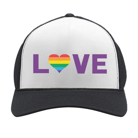 Tstars tshirts Gay Love - Rainbow Heart Gay & Lesbian Pride Trucker Hat Mesh Cap