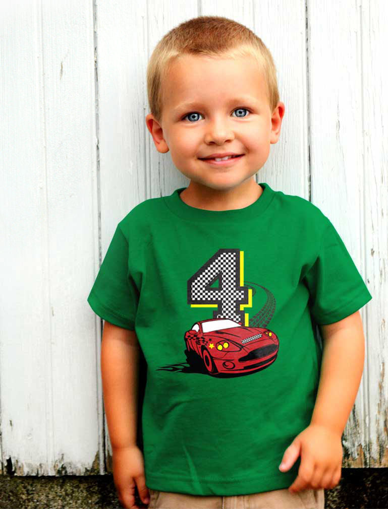4th Birthday Race Car Toddler Kids T-Shirt