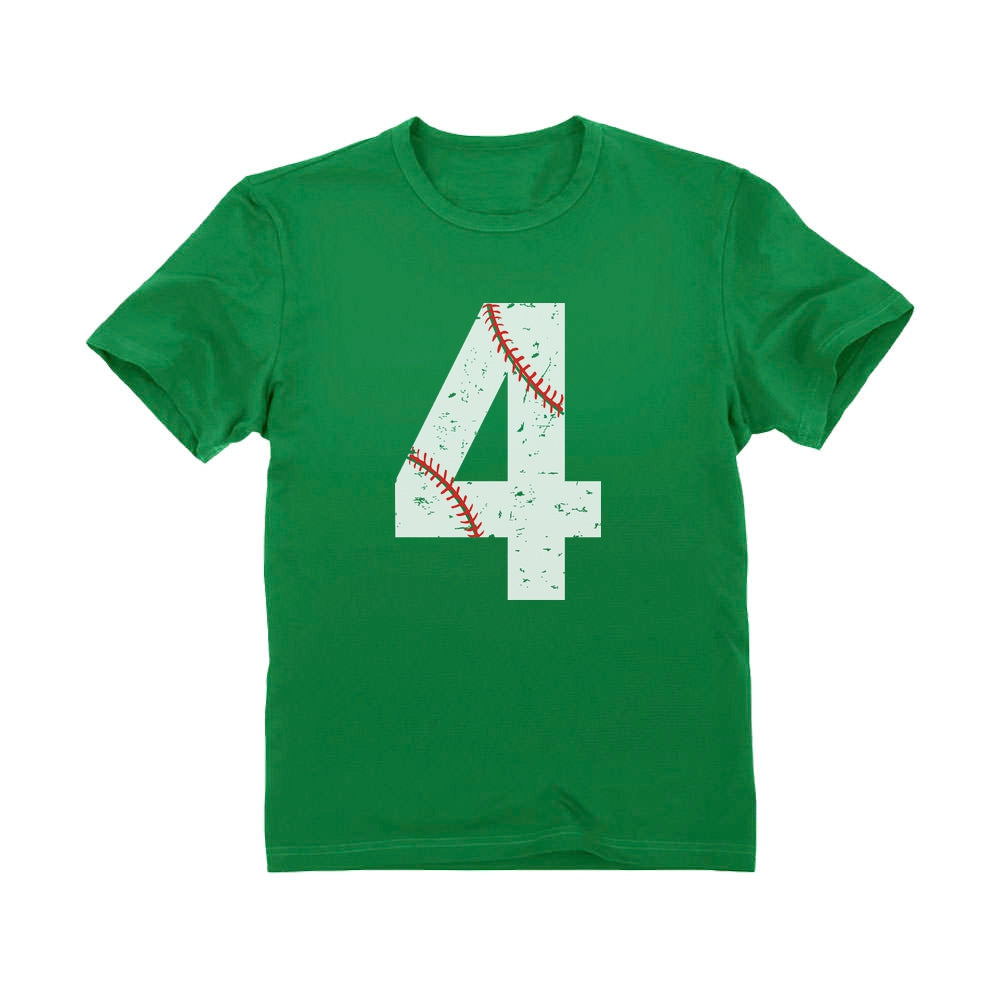 Baseball 4th Birthday Gift Four Year old Toddler Kids T-Shirt