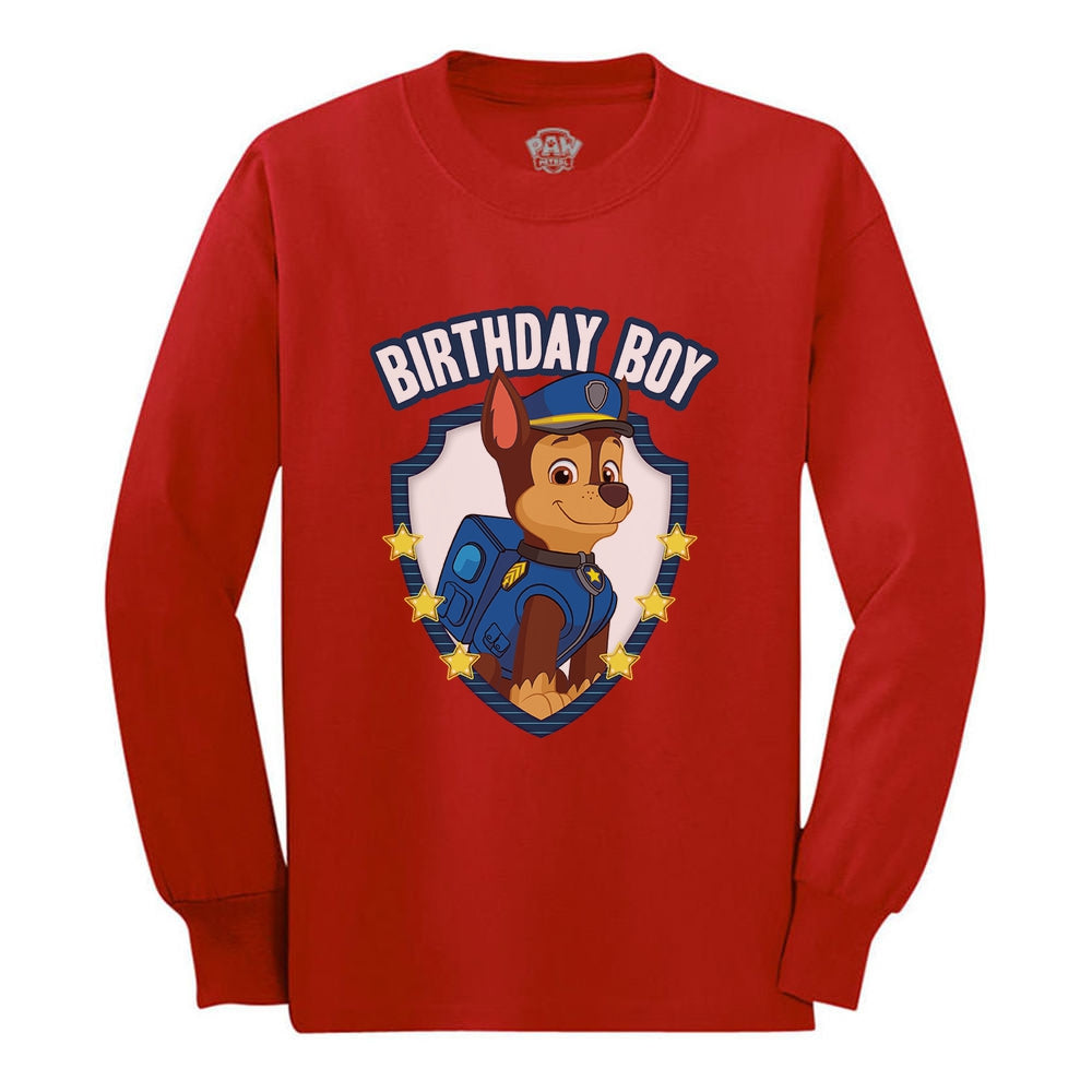 Official Paw Patrol Chase Boys Birthday Toddler Kids Long sleeve T-Shirt