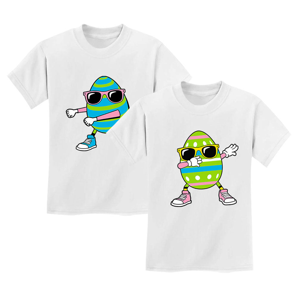 Flossing and Dabbing Easter Egg - Cute Matching T-Shirts Set