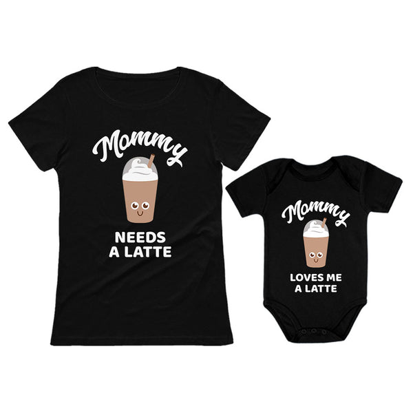 Tstars tshirts Mommy Needs a Coffee & Latte Matching Outfit for Mother and Baby Daughter / Son