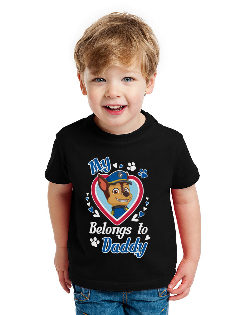 Chase Paw Patrol - My Heart Belongs To Daddy Toddler Kids T-Shirt - Red