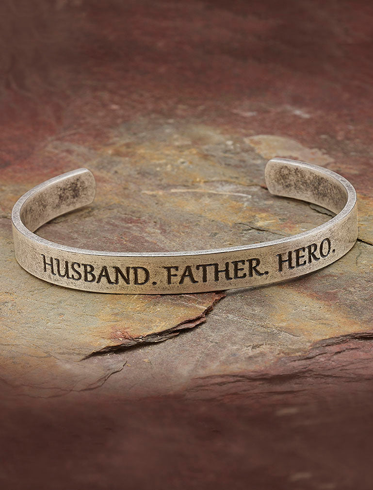Husband. Father. Hero - Stainless Steel Bracelet Engraved Bangle Jewelry For Dad