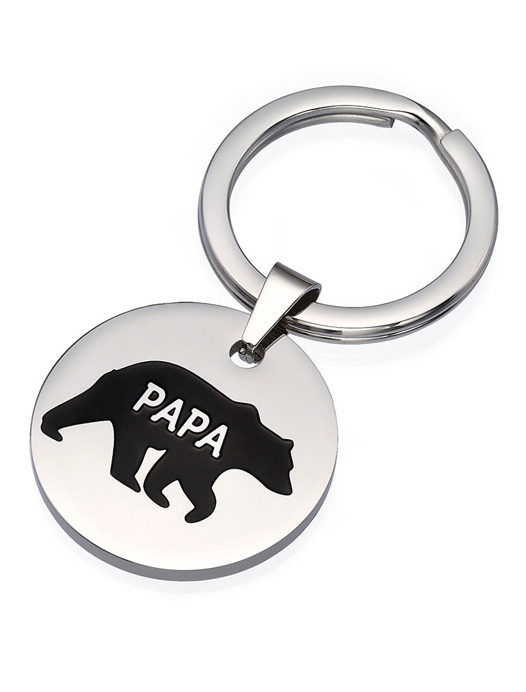 Father's Day Keychain Papa Bear Stainless Steel Keychain for Dad Grandpa