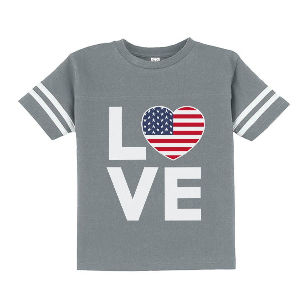 Cute 4th of July Shirt Love USA Heart Flag Patriotic Toddler Jersey T-Shirt