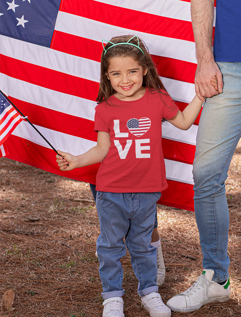 Cute 4th of July Tee Love USA Heart Flag Patriotic Toddler Girls' Fitted T-Shirt