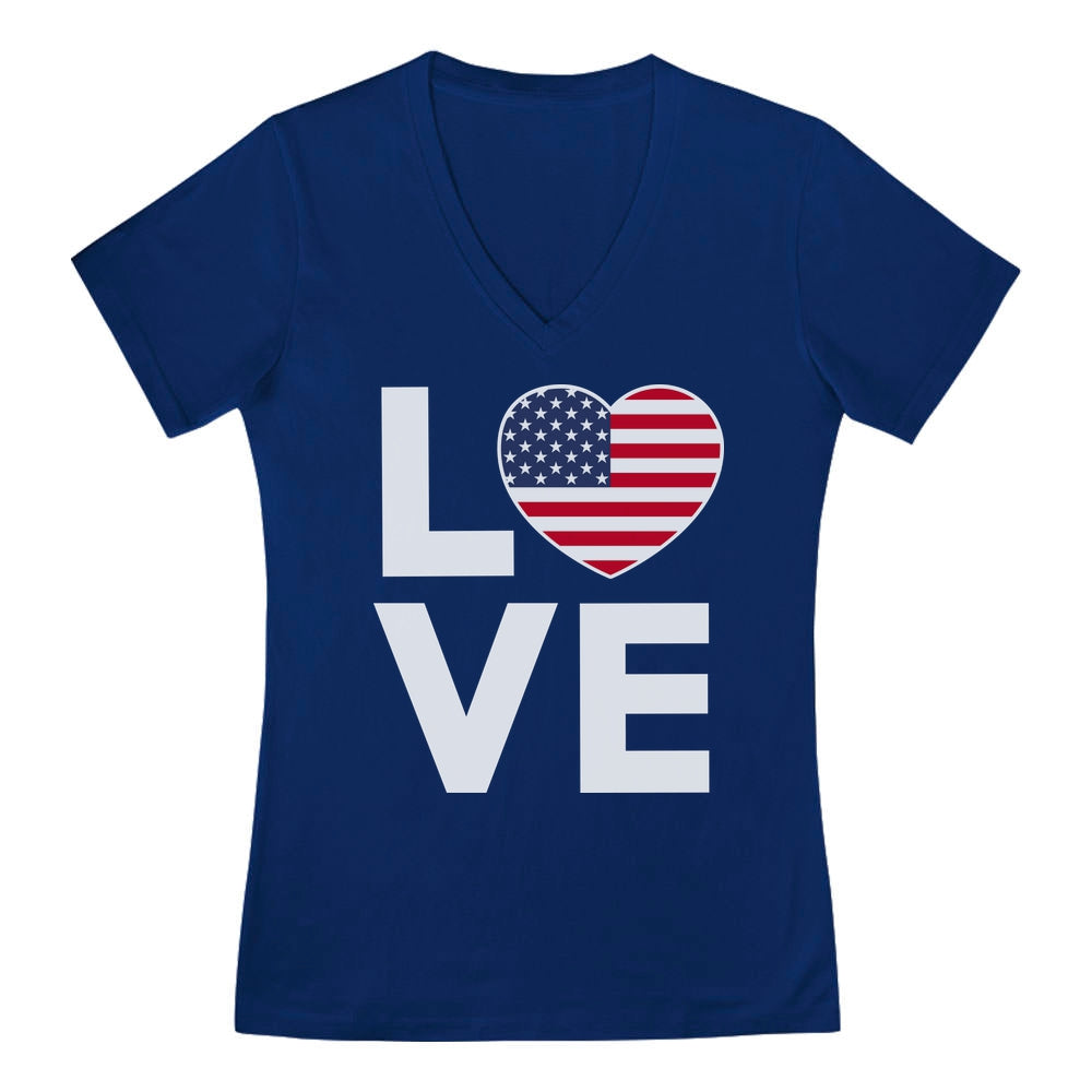 4th of July Top Love USA Heart Flag Patriotic V-Neck Fitted Women T-Shirt