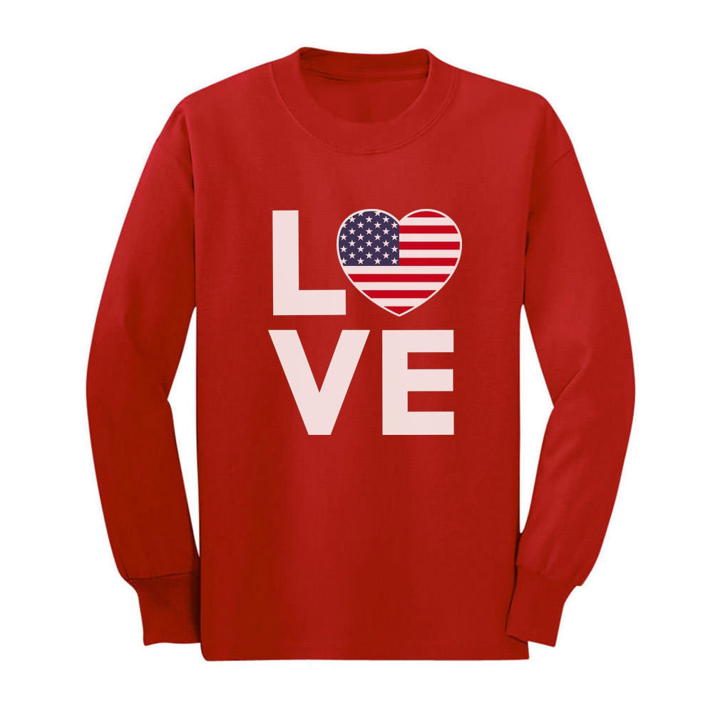4th of July Top Love USA Heart Flag Patriotic Youth Kids Long Sleeve T-Shirt