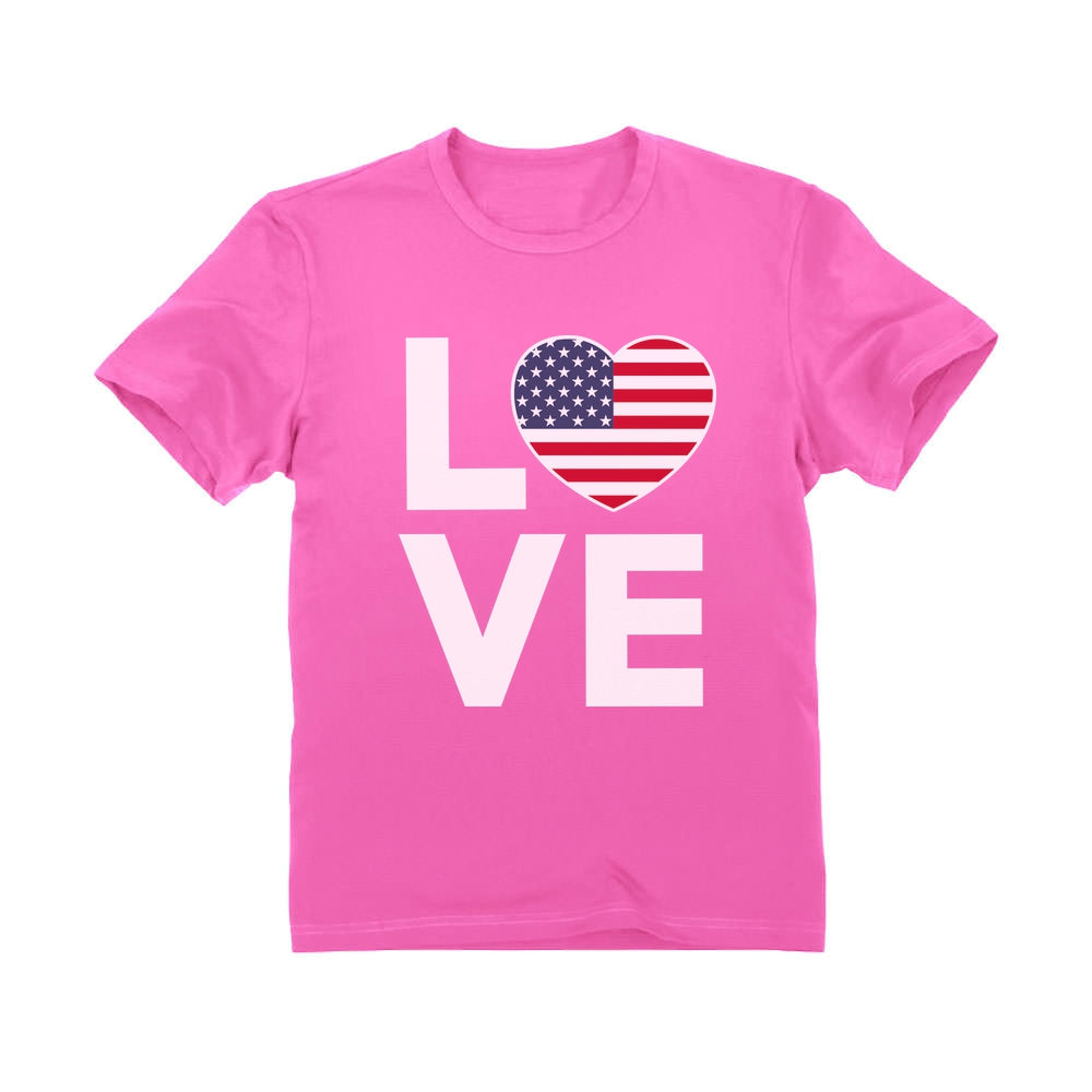 4th of July Top Love USA Heart Flag Patriotic Youth Kids T-Shirt