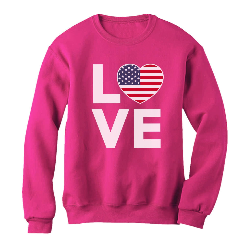 4th of July Top Love USA Heart Flag Patriotic Women Sweatshirt