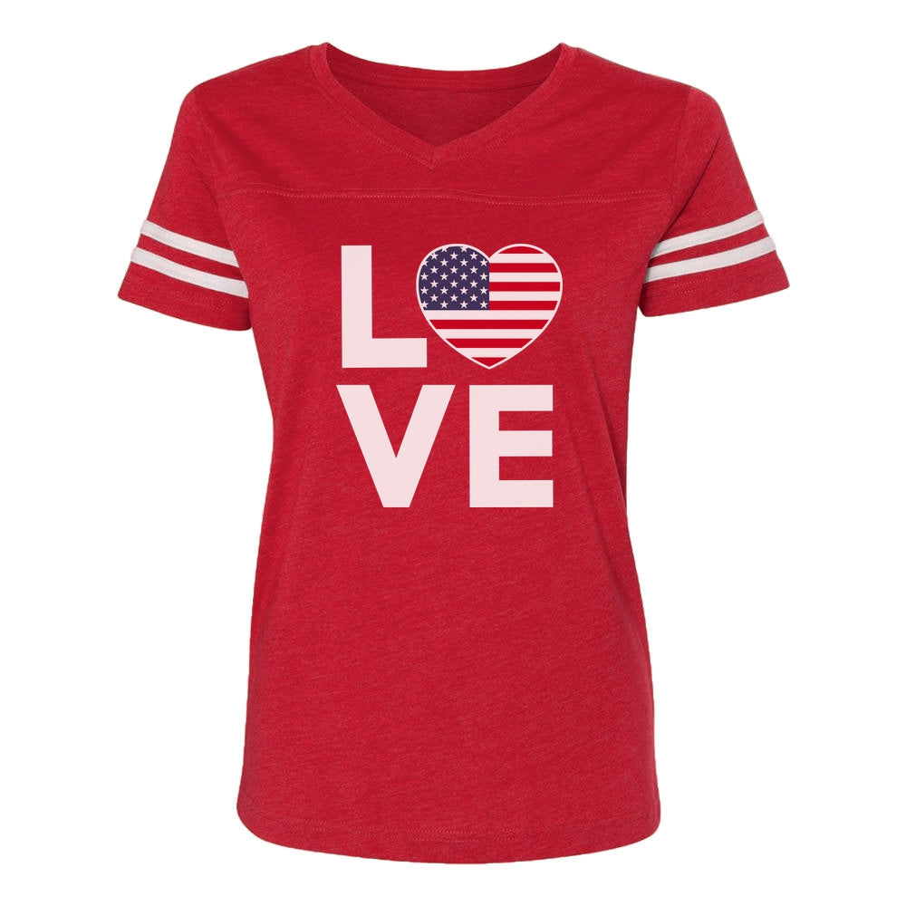 4th of July Top Love USA Heart Flag Patriotic Women Football Jersey T-Shirt