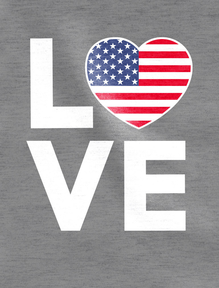 4th of July Top Love USA Heart Flag Patriotic Long Sleeve T-Shirt