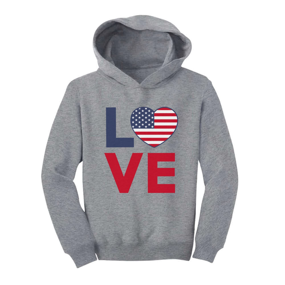 4th of July Sweatshirt Love USA Cute Heart Flag Patriotic Toddler Hoodie