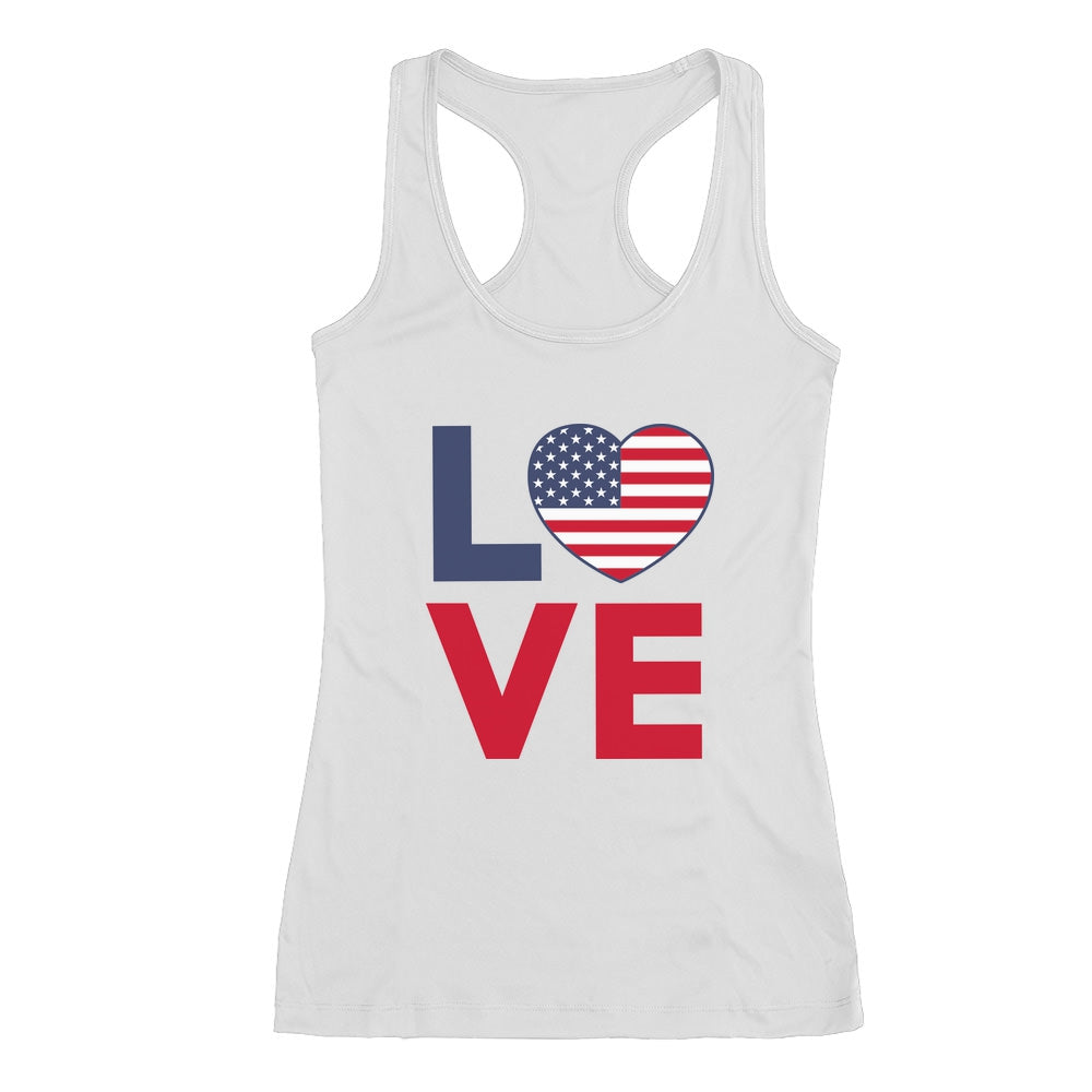 4th of July Shirt Love USA Heart Flag Patriotic Racerback Tank Top