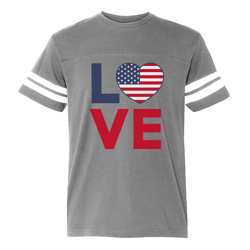 4th of July Shirt Love USA Heart Flag Patriotic Football Jersey T-Shirt